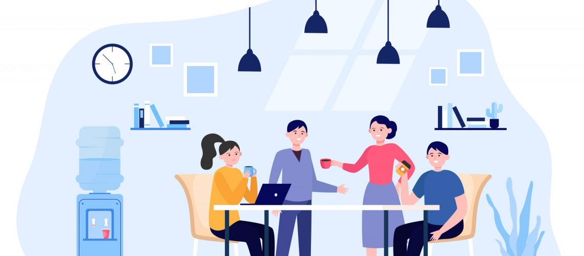 Office people drinking coffee during lunch break. Employees meeting and talking in company kitchen. Vector illustration for work break, teamwork concept