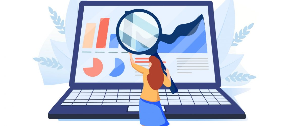 Woman looking at indicators on laptop screen through magnifying glass. Concept of PС performance or computer system monitoring software. Modern flat colorful vector illustration for banner, poster.