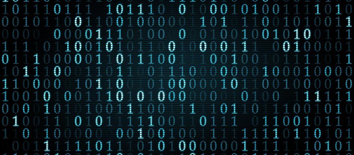 blue digital binary symbols. Computer generated illustration