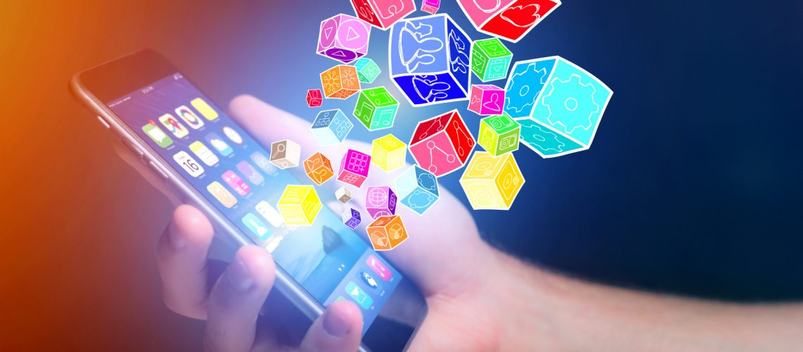 View of Colorfull application cube going out a smartphone - Technology concept